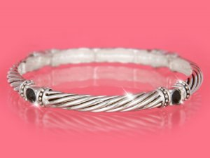 Silver w/ Black Crystals Designer Look Stackable Bracelet