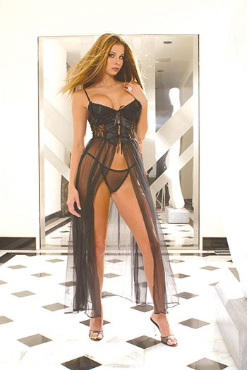 Gown with Satin Bosice & Lace Sides Lingerie