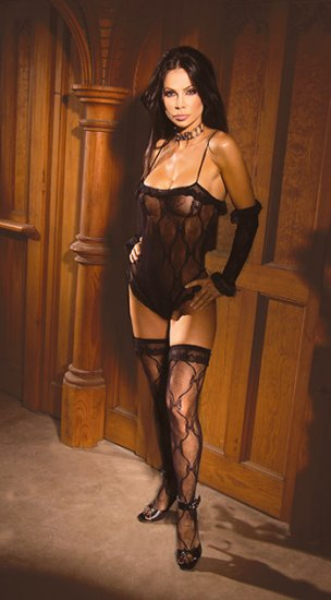 Bow Lace Teddy, Gloves & Hose Lingerie