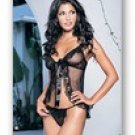 2 Pc. Sheer mesh lace ruffle babydoll with satin ribbon tie and G-string-Lingerie