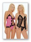 2 Pc. Mesh babydoll with sequined lace trim includes matching G-string-Lingerie