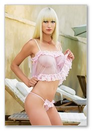2 Pc. Sheer Ruffle Trimmed Cami-Babydoll-Lingerie