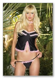 2 Pc. Pinstriped Ruffle Babydoll and Ruffle Full Back Panty-Lingerie