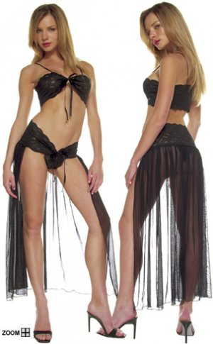 Lace Tie Front Top with Sheer Skirt Lingerie