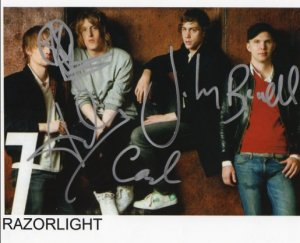 """Razorlight FULLY SIGNED 8"""" x 10"""" Photo COA 100% Genuine"""