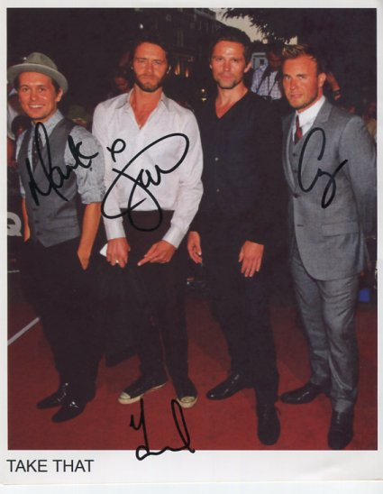 "Take That FULLY SIGNED 8"" x 10"" Photo + Certificate Of Authentication 100% Genuine"