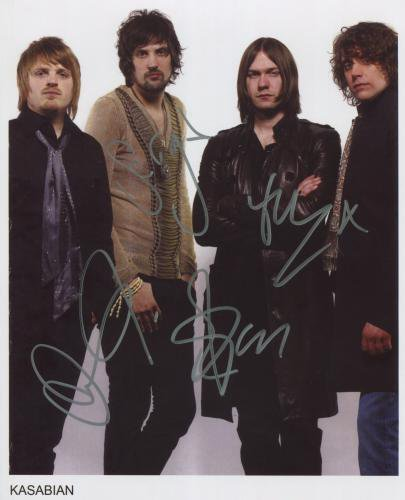 "Kasabian FULLY SIGNED 8"" x 10"" Photo + Certificate Of Authentication 100% Genuine"