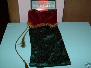 BRAND NEW DECORATIVE WINE BOTTLE BAG WITH BELLS