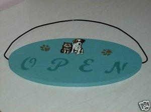 OPEN/CLOSED KITTEN AND PUPPY VETERINARY  PLAQUE