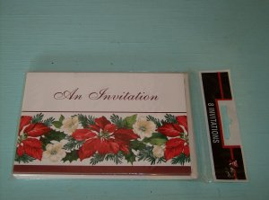 CHRISTMAS PARTY INVITATIONS WITH HOLIDAY POINSETTIA