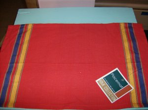 SET OF BRAND NEW RED WITH YELLOW AND BLUE STRIPES