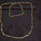 """Gold Necklace & Bracelet Set - """"Alternating Links"""""""