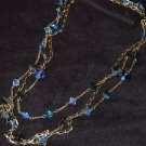 Necklace Set - Blue Glass Bead Necklace & Gold Chain Set