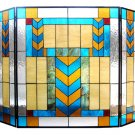 Handcrafted Tiffany Style Mission Stained Glass Fireplace Screen