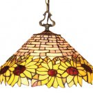 Handcrafted Sunflower Design Tiffany Style Hanging Lamp