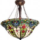 Handcrafted Tiffany Style Victorian Reverse Hanging Lamp