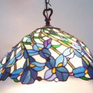 Handcrafted Iris Design Tiffany Style Hanging Lamp