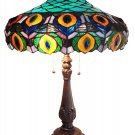 Handcrafted Classic Peacock Tiffany Style Table Lamp