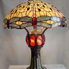 Handcrafted Dragonfly Design With Lighted Base Tiffany STyle Table Lamp