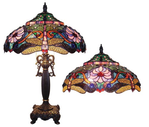 Handcrafted Dragonfly Tiffany Style Table Lamp