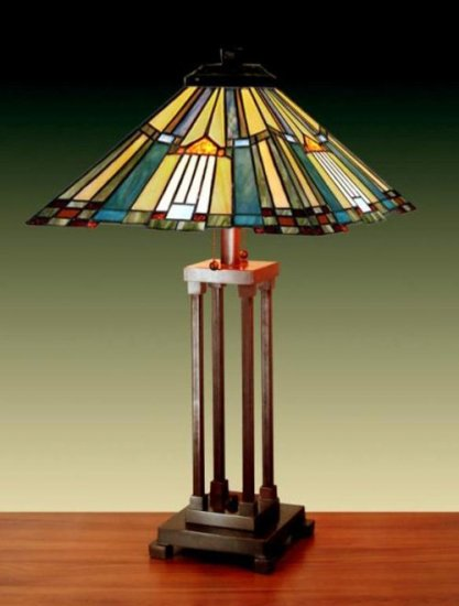 Handcrafted Fantastic Mission Tiffany Style Table Lamp