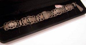 Detailed Antique Silver Paris Souvenir Bracelet From The 20's