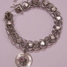 Beautiful Sterling Silver Happy Birthday Bracelet W/ Hearts