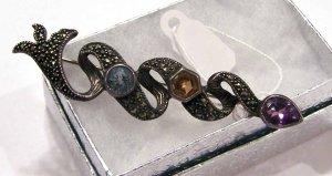 Beautiful Sterling Silver 925 Snake Brooch W/ 3 Stones
