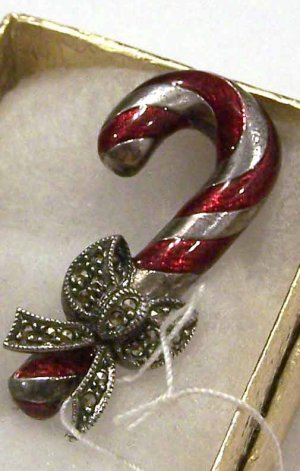 Beautiful Enameled Sterling Silver W/ Hematite Candy Cane Brooch
