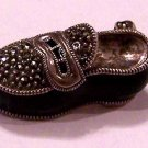 Beautiful Sterling Silver and Enameled Shoe Brooch/Pin