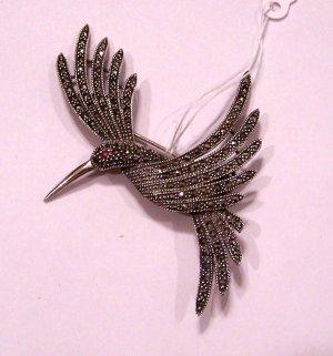 Beautiful Vintage Sterling Silver W/ Marcasite Bird Brooch