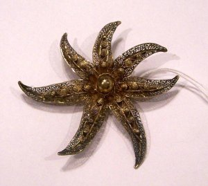 Beautiful Unique Antique Filigree Flower Brooch