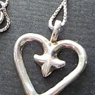 Sterling Silver Pendant Heart Fleur de Lis w Chain Necklace