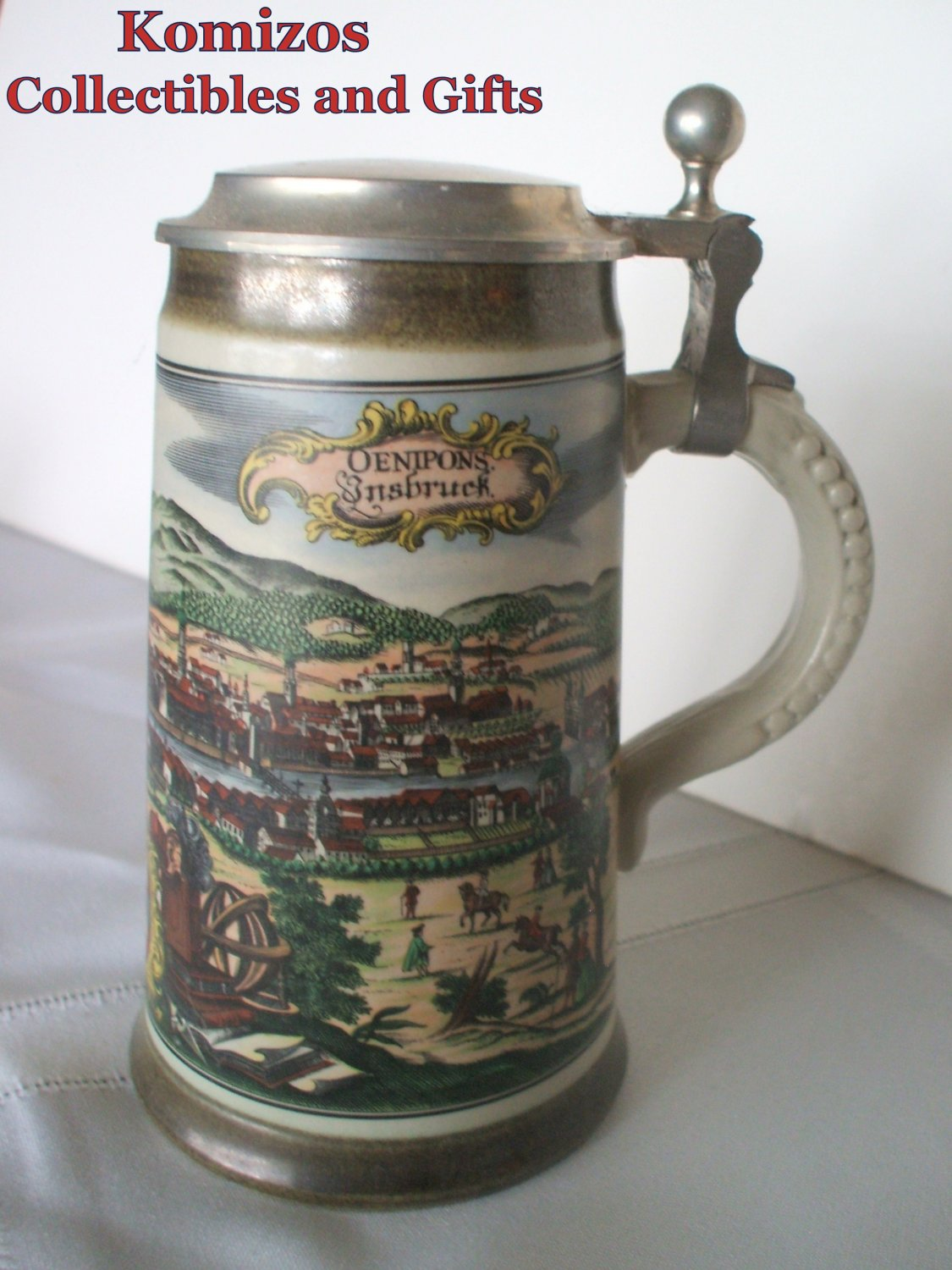 German Beer Stein with Pewter Top