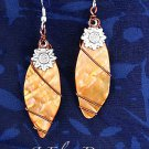 Handcrafted Orange Shell and Silver Charm Earrings