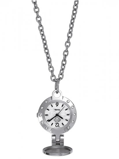 NIB NEW IN BOX Harley Davidson Women's Pendant Watch Necklace Stainless Silver Jewelry 76L26