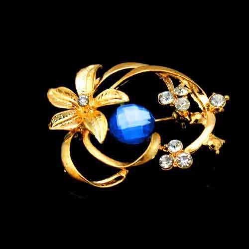 Noblest Gemstone Blue Crystal Gold Plated Brooch