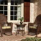 Tortuga Outdoor Lexington All Weather Wicker Set of Two Rocking Chairs With Side Table  LEX-RT3