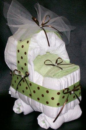 Bassinet Diaper Cake Neutral Baby Shower Polka Dots Boy or Girl