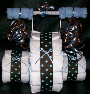Tricycle Diaper Cake Baby Boy Shower Centerpiece Polka Dots