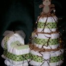 Monkey Diaper Cake and Bassinet Matching Set Sage Green & Brown Polka Dot