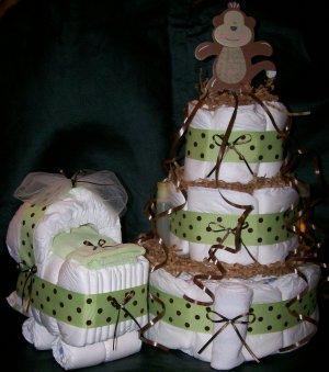 Monkey Diaper Cake and Bassinet Matching Set Sage Green & Brown Polka Dot
