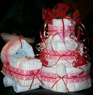 Ladybug Diaper Cake & Bassinet Set Pink Red White Girl