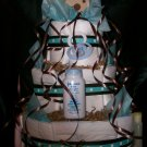 Puppy Dog Diaper Cake Brown & Aqua Baby Boy Shower Centerpiece