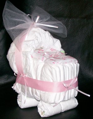 "Bassinet Diaper Cake Pink ""A Star Is Born"" Baby Girl Shower Centerpiece"