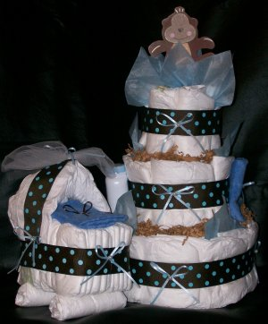 Diaper Cake and Bassinet Set Monkey Boy Baby Shower Centerpiece