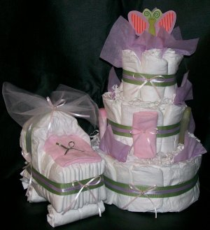 Butterfly Diaper Cake and Bassinet Set Baby Girl Shower Centerpiece