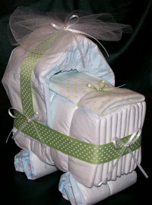 Bassinet Diaper Cake Sage Green White Polka Dot Baby Shower Boy or Girl Neutral