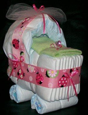 Ladybug Bassinet Diaper Cake Baby Girl Shower Centerpiece