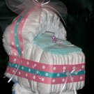 Bassinet Diaper Cake Pink Aqua Polka Dots Baby Girl Shower Centerpiece